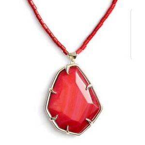 $150 Kendra Scott BEATRIX Pendant RED Necklace
